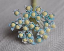 TURQUOISE BLUE GYPSOPHILA / FORGET ME NOT with Beads Mulberry Paper Flowers